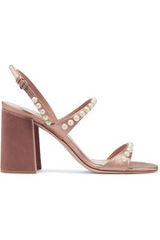 Faux pearl-embellished satin and velvet sandals