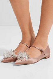 Miu Miu Embellished satin point-toe flats