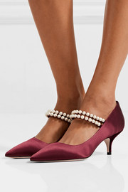 Miu Miu Faux pearl-embellished satin pumps
