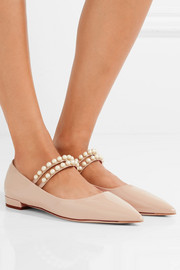 Miu Miu Faux pearl-embellished patent-leather point-toe flats