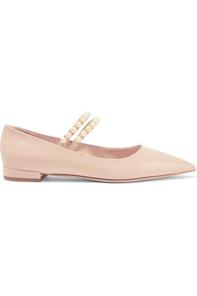 Miu Miu - Faux Pearl-embellished Patent-leather Point-toe Flats - Blush