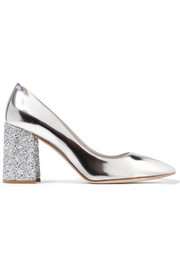 Glittered metallic leather pumps