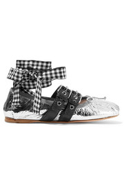 Miu Miu Lace-up metallic leather ballet flats