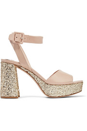 Miu Miu Glittered patent-leather platform sandals