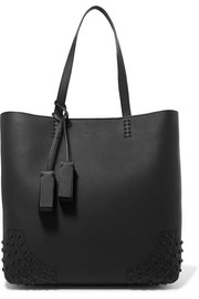 Tod's Wave studded textured-leather tote