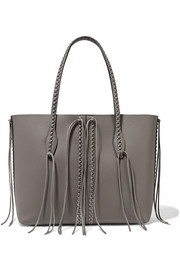 Tod's Gypsy fringed embellished textured-leather tote