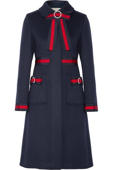Embellished Grosgrain-Trimmed Wool Coat in Navy