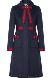 Embellished grosgrain-trimmed wool coat
