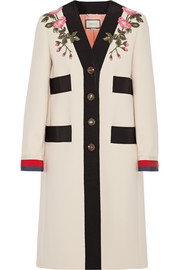Appliquéd grosgrain-trimmed wool coat