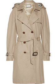 Silk faille-trimmed cotton-blend gabardine trench coat