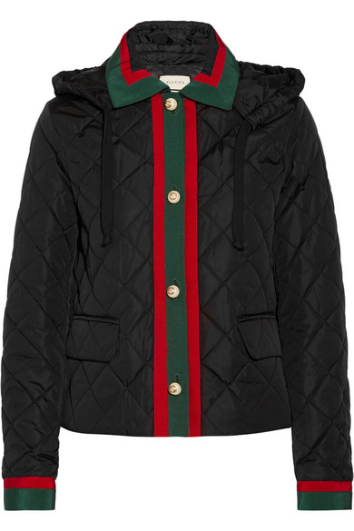 Gucci. Hooded grosgrain-trimmed quilted shell jacket