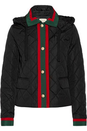 Hooded grosgrain-trimmed quilted shell jacket