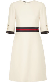 Gucci  Grosgrain-trimmed wool and silk-blend mini dress