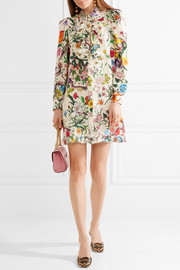 Gucci Ruffled printed silk crepe de chine mini dress