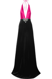 Gucci Embellished cotton-blend velvet and silk-satin halterneck gown