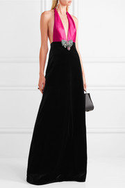 Embellished cotton-blend velvet and silk-satin halterneck gown