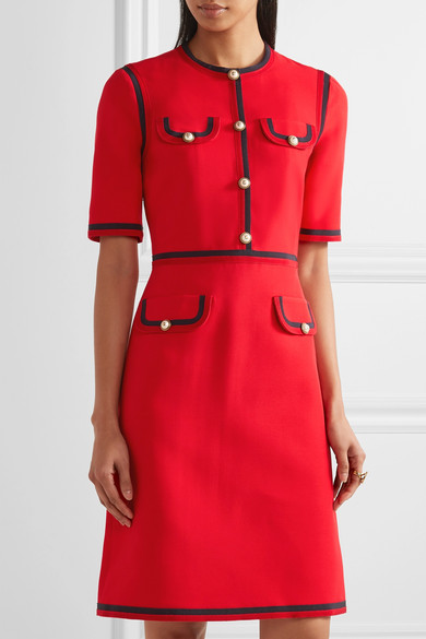Grosgrain Trimmed Wool And Silk Blend Cady Mini Dress