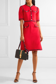 Gucci Grosgrain-trimmed wool and silk-blend cady mini dress