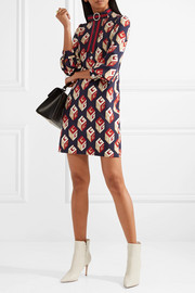 Gucci Embellished printed stretch-jersey mini dress