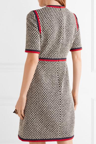 Billig Verkauf 100% Authentisch Verkauf Besten Platz Gucci Minikleid aus Tweed aus einer Baumwollmischung mit Ripsbandbesatz Günstig Preis-Kosten Wie Viel Günstigen Preis Auslass Niedriger Preis XD0ONI8IPX