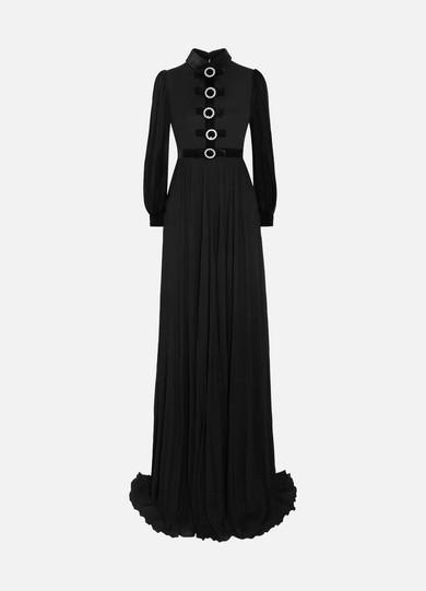 Embellished Velvet-Trimmed Jersey Gown, Black
