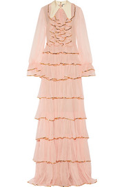 Gucci Ruffled embellished silk-crepon gown