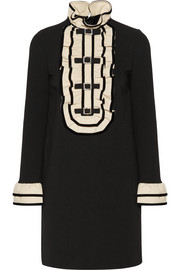Gucci Embellished ruffled stretch-cady mini dress