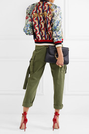 Sequin-embellished printed silk-twill bomber jacket