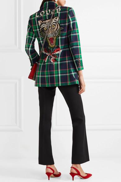 Gucci Verzierter Wollblazer mit Tartan-Muster Fachlich FQd4SuR