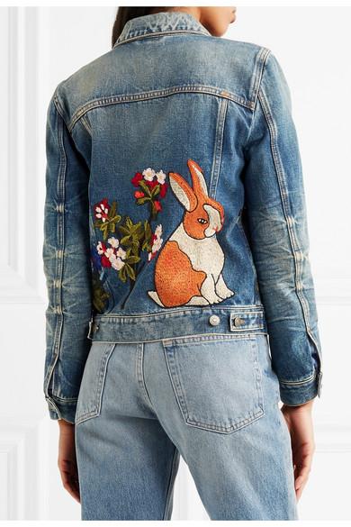 ccb46b151 Gucci | Embroidered denim jacket | NET-A-PORTER.COM