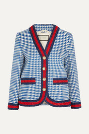 Gucci Striped houndstooth wool-blend jacket