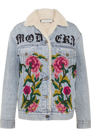 Shearling-lined embroidered denim and jacquard jacket