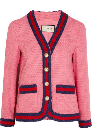 Gucci - Faux Pearl-embellished Cotton-blend Tweed Jacket - Pink