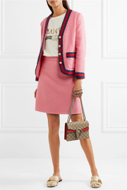 Gucci Faux pearl-embellished cotton-blend tweed jacket