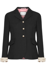 Gucci Ruffled-trimmed silk and wool-blend blazer