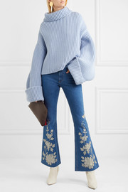 Gucci Embroidered high-rise flared jeans