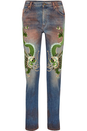 Gucci Appliquéd distressed boyfriend jeans