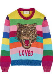 Gucci Appliquéd sequined striped wool sweater
