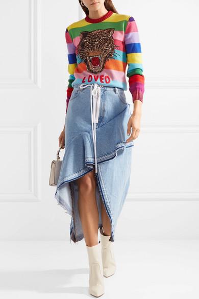 Gucci Gestreifter Wollpullover mit Applikationen und Paillettenverzierung Freies Verschiffen 2018 Neueste Verkauf Großer Verkauf Günstig Kaufen Empfehlen Shop Für Online a2nfr