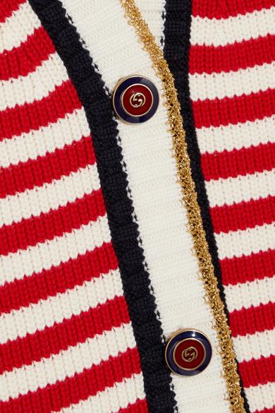 Gucci Gestreifter Cardigan aus einer Baumwollmischung mit Stretch-Anteil Billige Wiki Größte Anbieter Günstig Online Breite Palette Von Online-Verkauf Niedrigster Preis Verkauf Online Billig Verkauf Echt eMDMZ