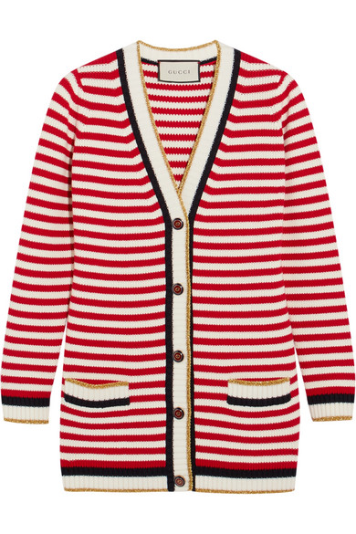 Gucci Cottons STRIPED STRETCH COTTON-BLEND CARDIGAN