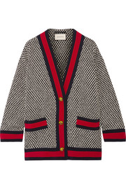Oversized grosgrain-trimmed cotton-blend tweed jacket