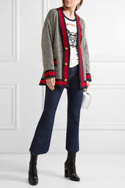 Gucci Oversized grosgrain-trimmed cotton-blend tweed jacket