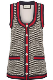 Gucci Grosgrain-trimmed cotton-blend tweed vest