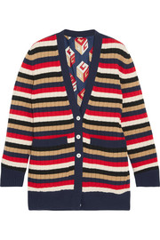Reversible striped wool and printed silk-satin cardigan