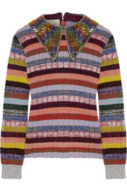 Gucci Embellished striped wool-blend sweater