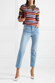 Embellished striped wool-blend sweater