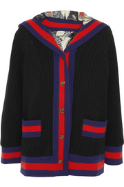 Gucci Hooded silk-lined ribbed wool jacket