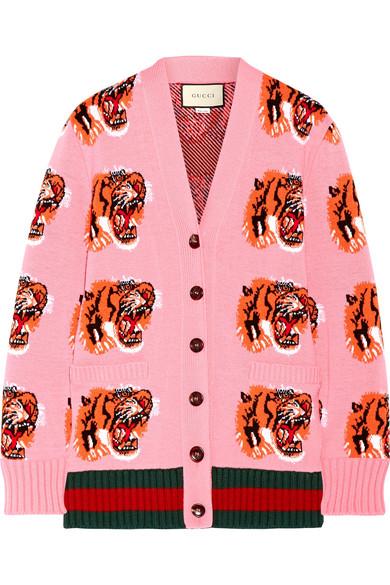 Gucci - Intarsia Wool Cardigan - Bubblegum