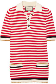 Gucci Striped stretch cotton-blend top